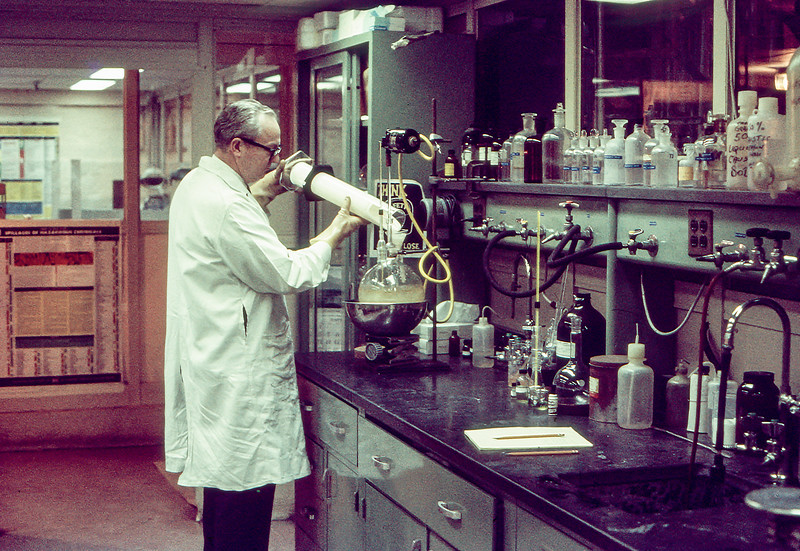 Dad working in his lab in Pennick - 1969