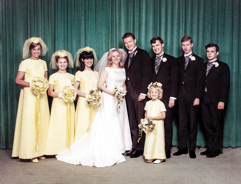 Robert & Carol with their wedding party - June 8, 1968