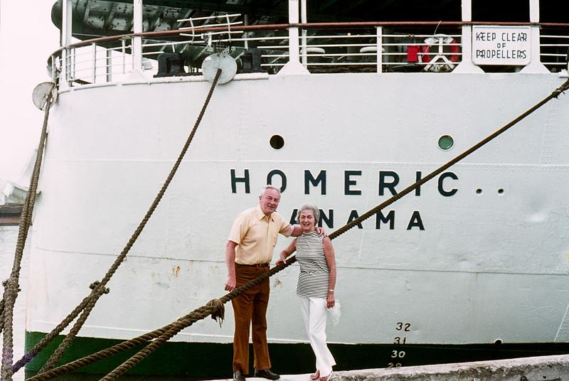 Dad & Mom cruising on the Homeric - 1972