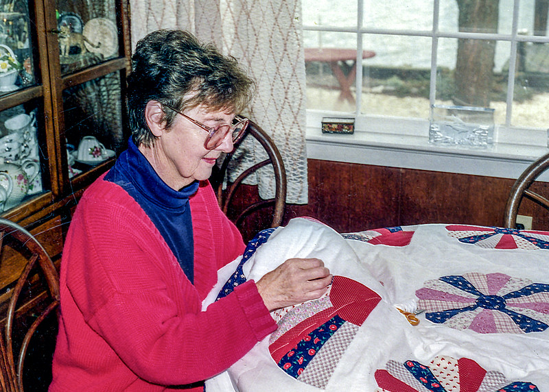 Aunt Maureen creating her first quilt