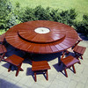 Dad's 8' redwood table & chairs restored with Barry - August 1972