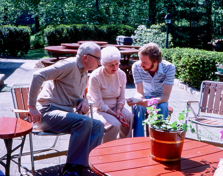 Dad, Mom & Barry on Mahwah's patio - May 1981