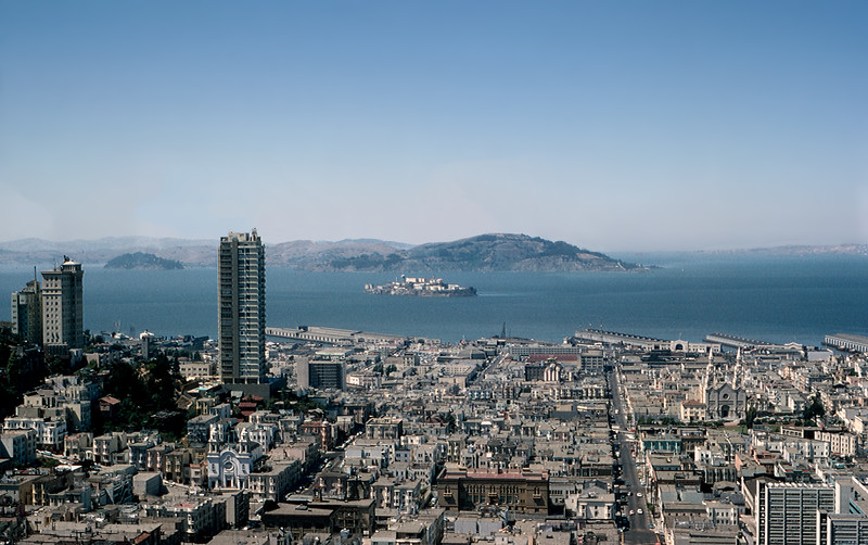 Top of the Mark  - San Francisco Bay & Alcatraz Island - 1964