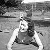 Rita posing on a blanket in West Nyack - 1939