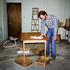 Barry finishing the table he built - 1982