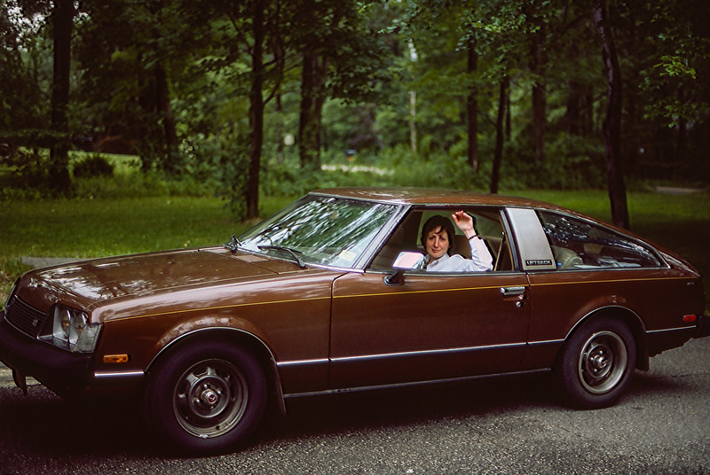 Mercedes saying goodbye to her Celica - 1984