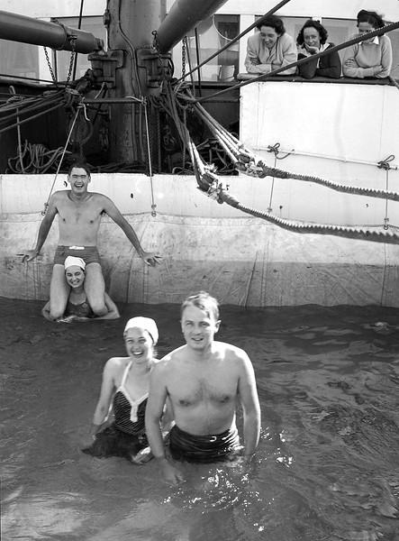 Rita & John Jr. in the cruise ship's pool