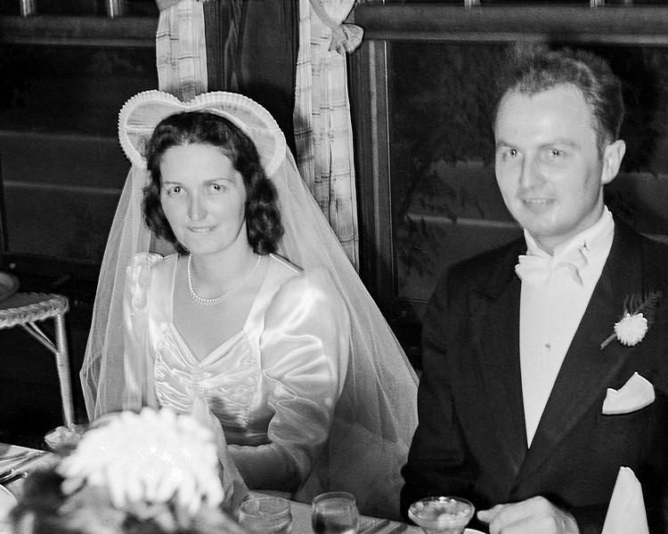Rita & John at their wedding reception table
