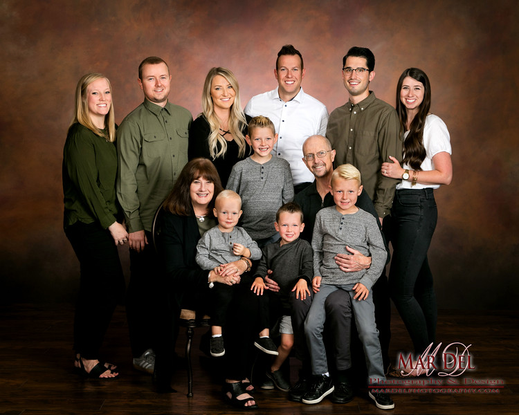 family on brown background