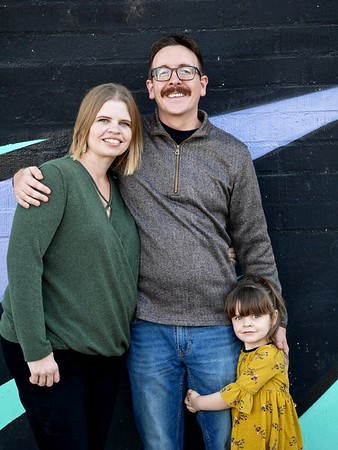 family pic against wall