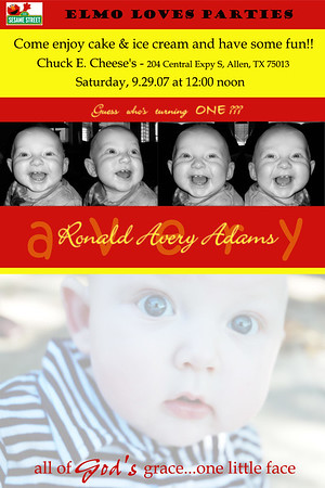 Avery 1st b'day invitation