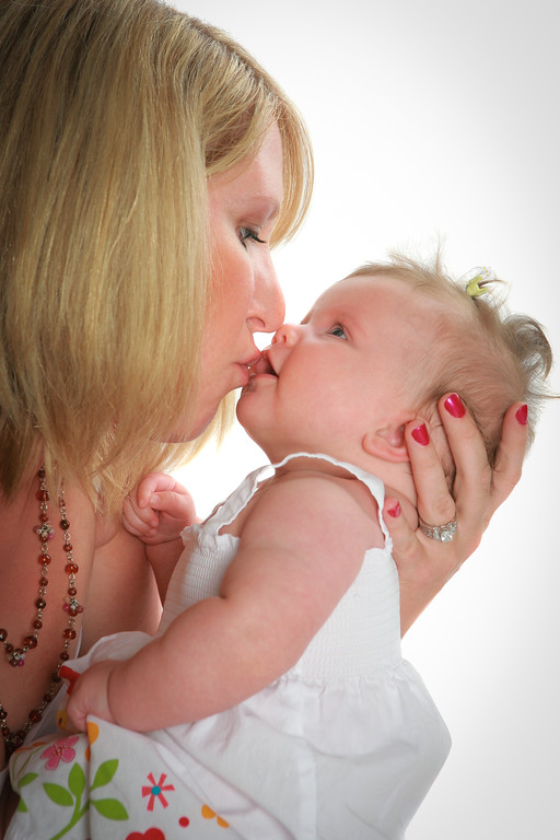 Mom Hold and Kiss Baby Girl on White Background