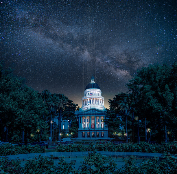 Milky Way over the California State Capitol