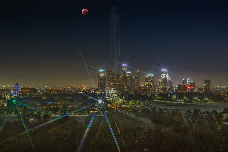 Lunar Eclipse over Downtown LA.
