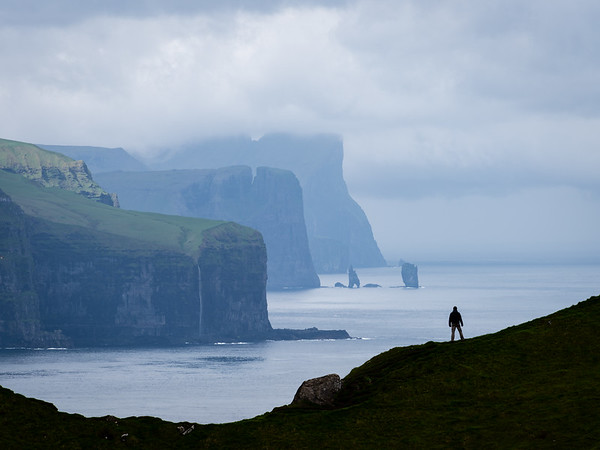 View from Kallur Lighthouse, Kalsoy, Faroe Islands.  The seastacks in the distance are 10 miles away.  Thanks to Mads Peter Iverson.