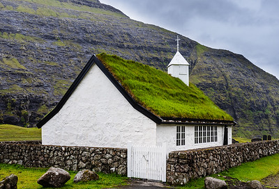 White church at Saksun, Faroe Islands.  We got out of the wind here.