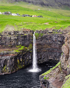Waterfalls at the village of Gasadalur, Faroe Islands.