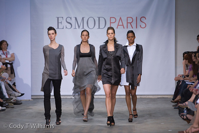 Graduating students of the ESMOD international fashion school, also known as l'Ecole Supérieur des arts et techniques de la Mode, showed off their final exam work in the Turenne Garage in Paris, France June 4, 2009. /© Cody Williams.