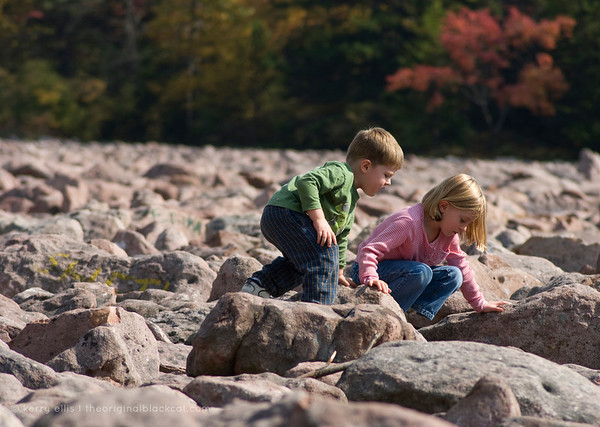 "Children traverse ""Boulder Field"" in Hickory Run State Park."