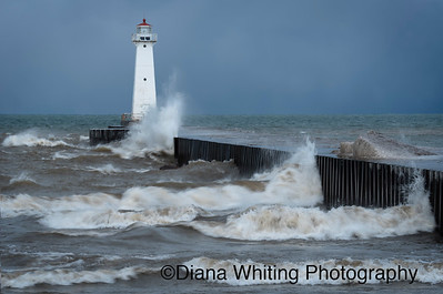 High Waves at Sodus Point Lighthouse on Lake Ontario