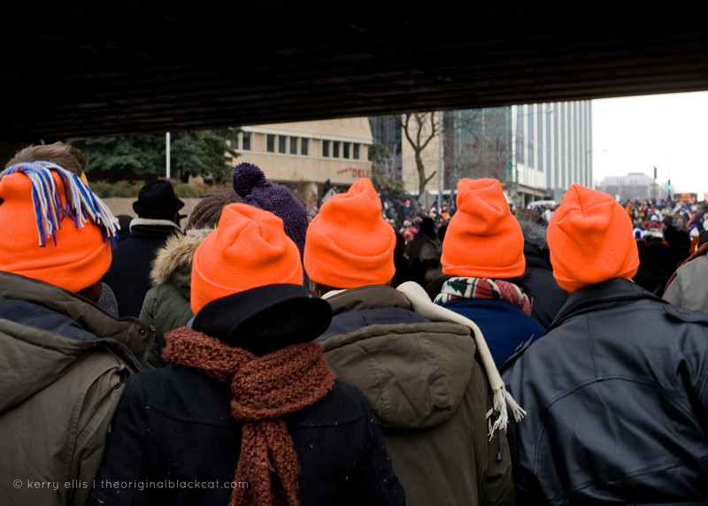 Some use bright hats to keep track of each other.