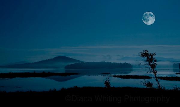 Full Moon on Simon Pond Tupper Lake