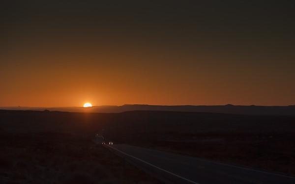 Towards darkness - on route 191 near Bluff, Utah