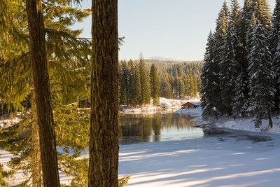Winter at Clear Lake in the Cascade Mountains, Oregon