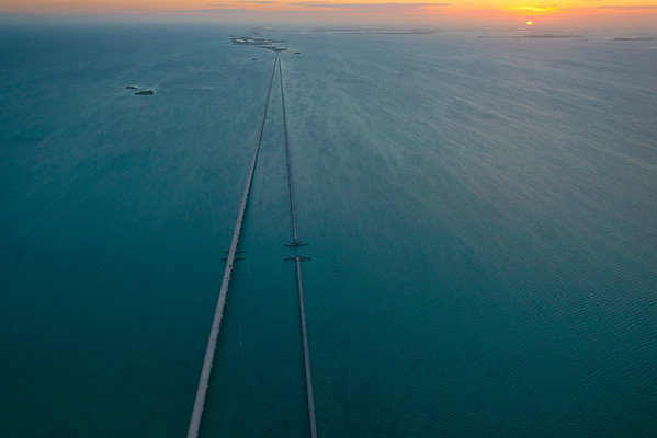 Birds Eye view of the Seven Mile Bridge During Sunset in Key West Florida