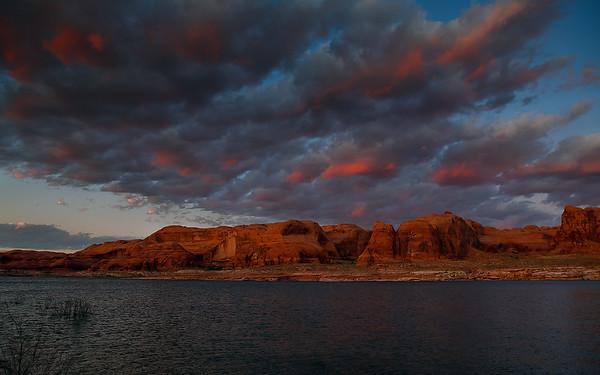 Sunset on Lake Powell, near mile marker 67 Utah