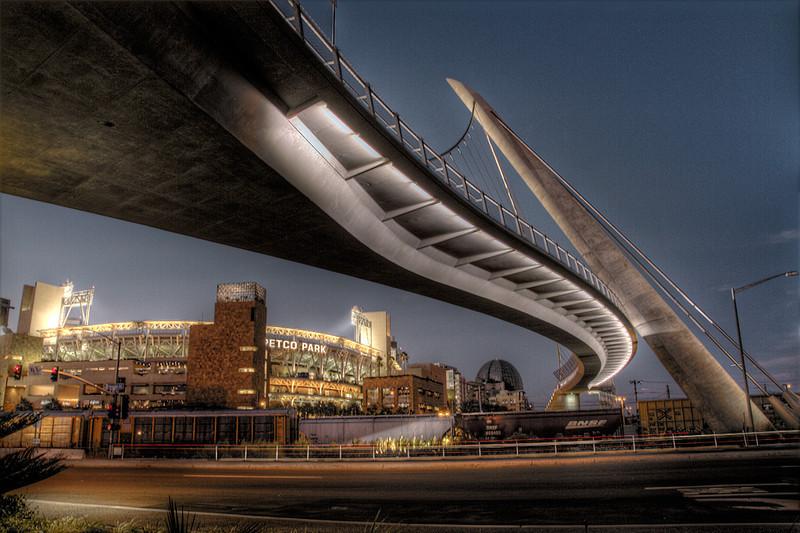 The walking bridge to Petco Park