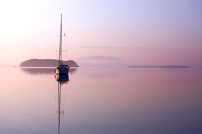 Sailboat at dawn, Sucia Island, San Juan Islands