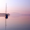 Sailboat at dawn, Sucia Island, San Juan Islands