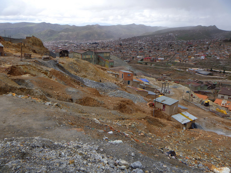 Looking out from outside the mines, these are the homes that the miners live in.