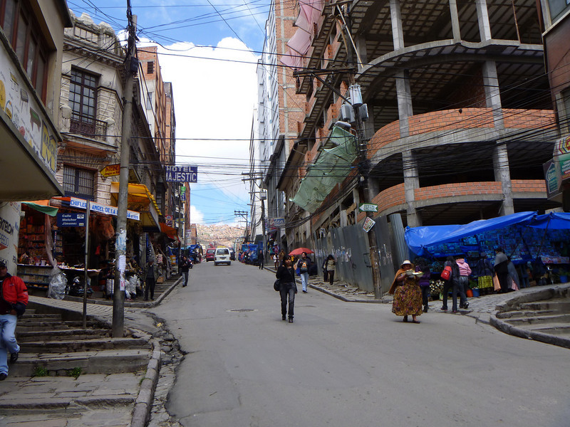 La Paz is quite high in the mountains ... the streets have plenty of stairs and you feel quite tired just walking up and down them thanks to the altitude.