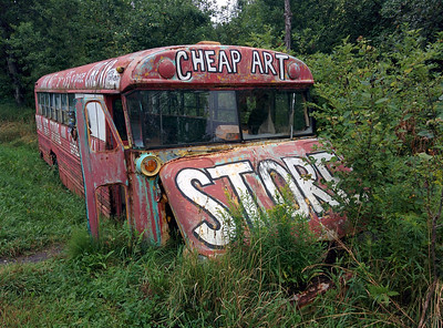 Across from the Bread and Puppet Art Museum is the Cheap Art Store.