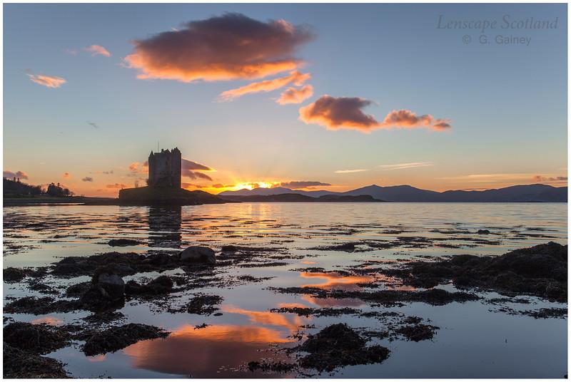 sunset over Castle Stalker, Appin