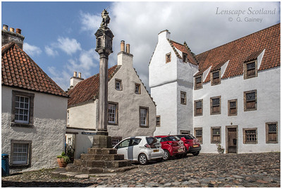 the mercat cross in the historic village of Culross, Fife