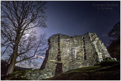 Iron Age broch of Dun Telve near Glenelg, by moonlight