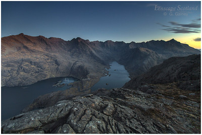 Loch Coruisk and the Cuillin ridge on Skye, just before dawn