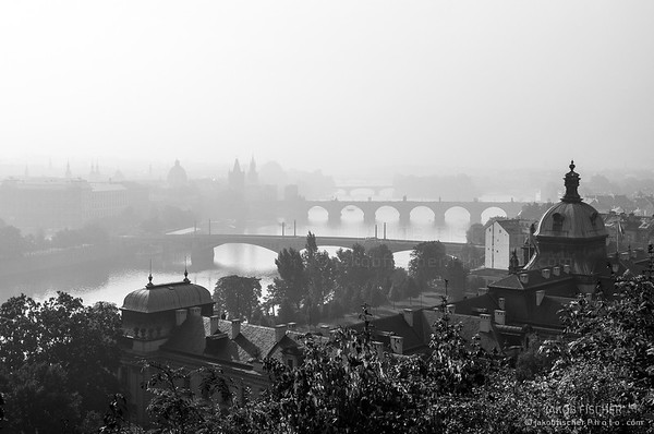 foggy cityscape of Prague, capital of Czech Republic