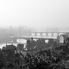 foggy cityscape of Prague, capital of Czech Republic