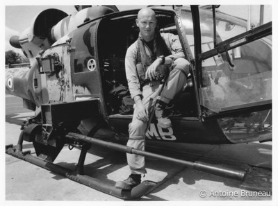 Self-portrait with a French SA341 Gazelle and its 20mm gun pod.