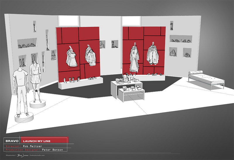 SET DESIGN | SketchUp/Photoshop<br /> Television: Launch My Line, Bravo Network