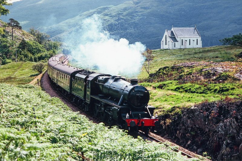 Black Five 44932 passing Lochailort Church, Aug 1986