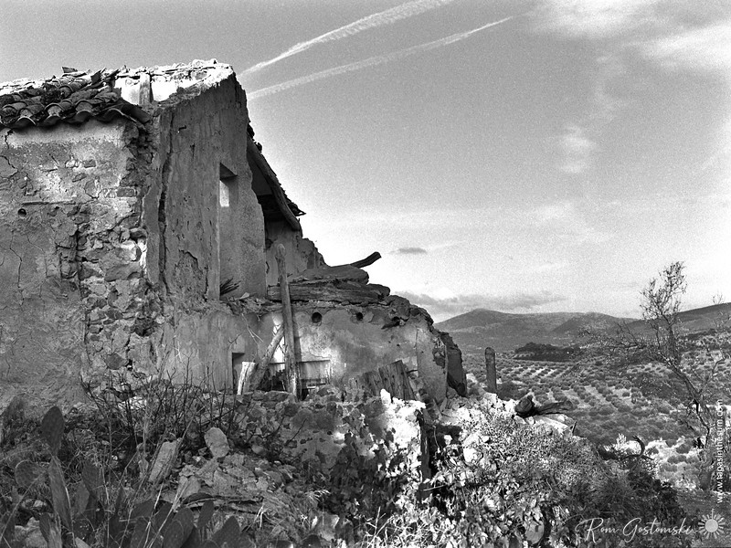 The ruins of an abandoned cortijo in the olive groves of Andalucia