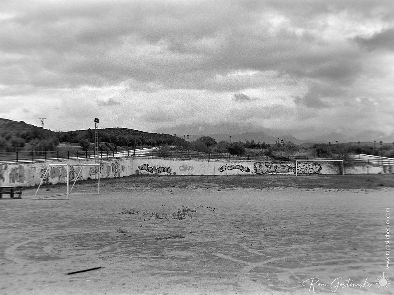The village football pitch on an overcast winter's day
