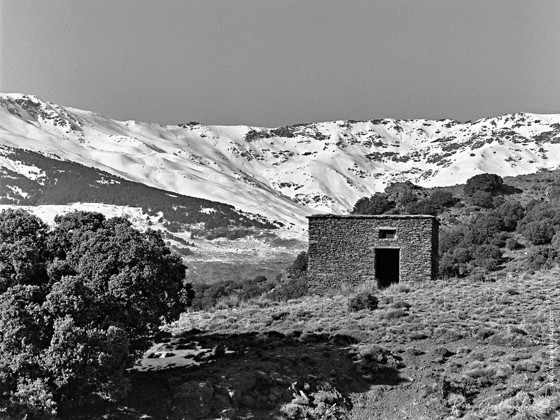 A stone building in the Sierra mountains