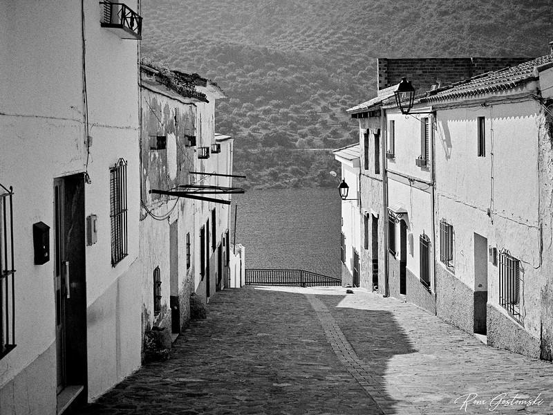 Village street by the lake