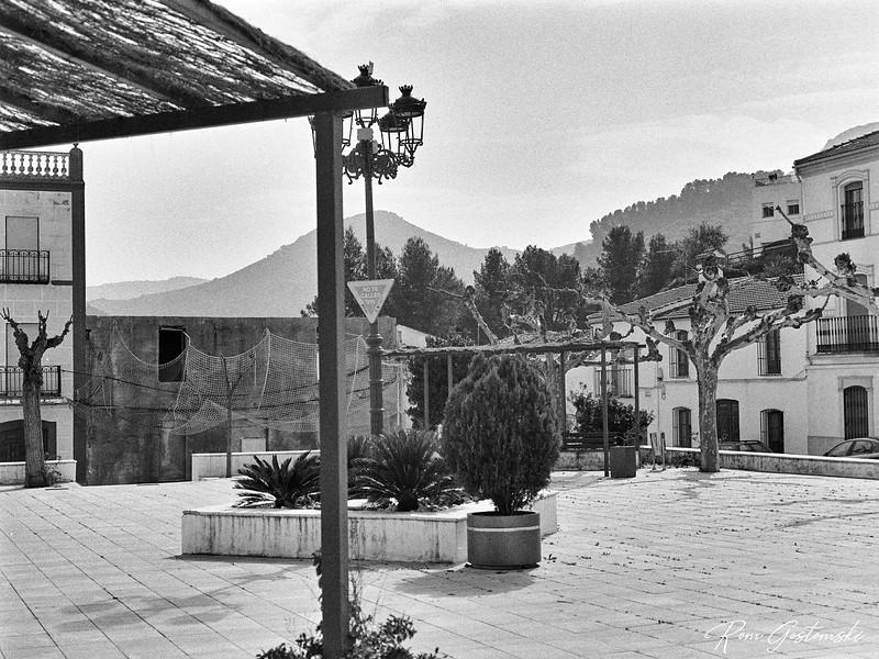 Empty village square during lockdown